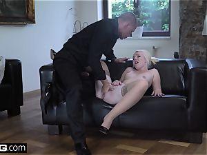 platinum-blonde Eurobabe tasting cum