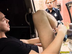 Police officer Mercedes Carrera lets Markus off as she is super-naughty today