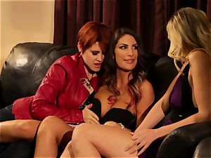 August Ames and Lily Cade cord on couch romp