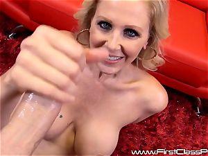 super-naughty slit pot milf Julia Ann sucking on a gigantic boner and getting a humungous stream to her boobs