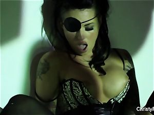 Captain Christy Mack plays with her submerged treasure