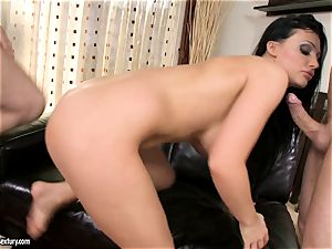 Aletta Ocean spunk on face after a mouth-watering threeway