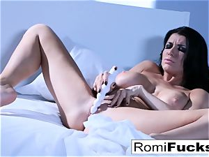 Solo fun on the sofa with the huge-chested pornstar Romi Rain