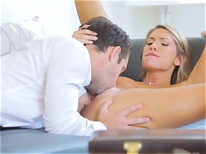 August Ames rides Logan Pierce on the couch