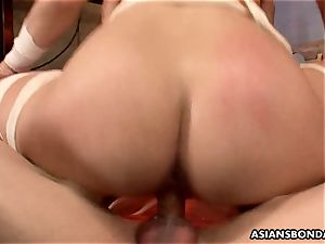 japanese red-haired is bandaged and group-fucked