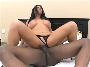 Romi Rain takes ginormous dark-hued man meat in her wet fuck hole