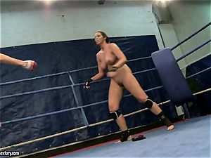 Eliska Cross and Lisa shine get nude and struggle rock hard