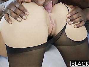 marvelous Jillian Janson takes a dark-hued erection in her cock-squeezing caboose