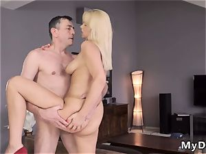 platinum-blonde yam-sized breasts facial sleepy man missed how his daddy plows his girlcompanion