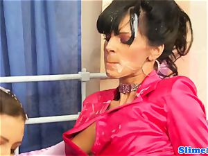 Bukkaked les titfucked by female domination with belt dick