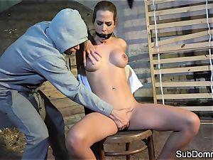 gagged honey orgasms during bondage