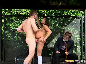 hilarious situation of labia stuffed daughter and her granddad witnesses at bus stop - Abella Danger and Bill Bailey
