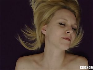light-haired Czech gal Plays with slit
