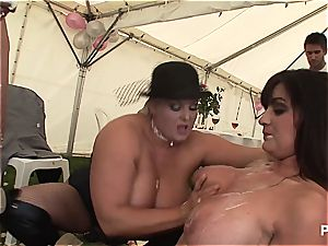 large boobed honeys in steaming romp