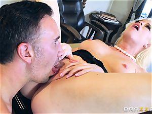 nasty stunner Nikki Delano gagged by yam-sized spunk-pump