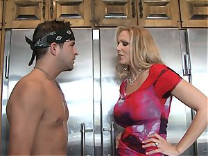 Julia Ann gets her forearms on a toyboy man-meat for drill fun