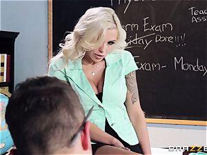 platinum-blonde educator Nina Elle puts this schoolgirl off his stride