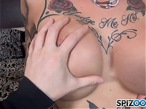 Anna Bell Peaks slurps on ginormous chisel and gets a jizz stream on her bosoms