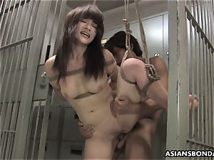 chinese sweetie gets romped with force behind the slats