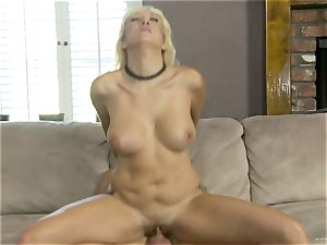 Alana Evans rides her humid vulva on this firm manmeat