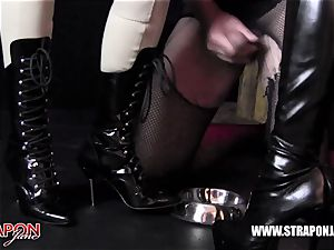 Femdoms spandex dominate tag squad sissy face ravage strap on dildo