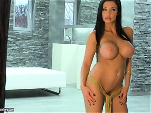 Aletta Ocean warm giant jugs dame nude at the stairs