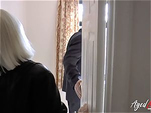 AgedLovE Mature gal Lacey Starr sucking rock-hard pink cigar