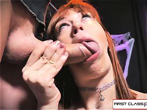 first Class pov - Alexa Nova deep throating a huge chisel in pov