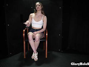teen woman munching gloryhole cum from strangers