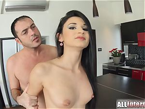 Allinternal super-sexy honey dribbles spunk out of her puss