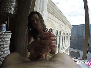 Rahyndee pleasing lollipop in Las Vegas hotel pov