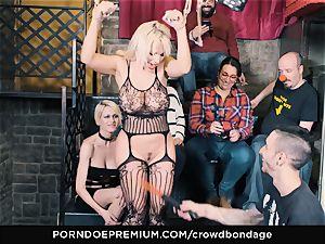 CROWD restrain bondage - enslaved towheaded Fesser harsh bondage & discipline fuck-fest