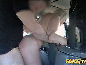 faux cab platinum-blonde cougar Victoria Summers pulverized in a cab
