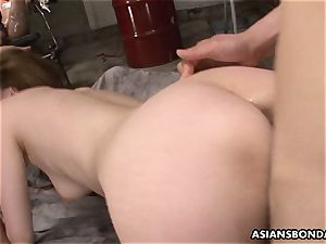 asian gangbanged while held superslut observes the display