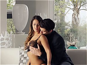 magnificent Eva Lovia is training her beau some manners before the soiree