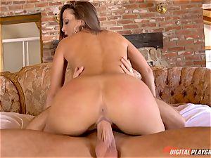 pink cigar craving sweetheart Abigail Mac gags on gigantic pecker