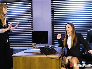 India Summers and Sunny Lane twat tribbing action in the office