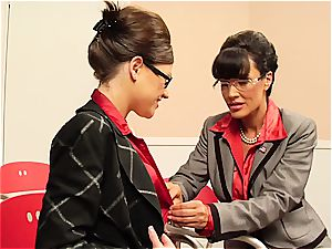 Lisa Ann teasing her coworker's unshaved muff