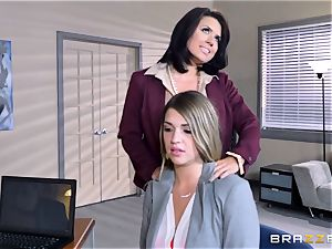 Mean boss Eva Angelina tears up Jenna Ashley with rope on rod