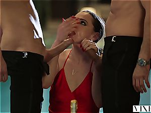 Glamourous film starlet Tori has after soiree threeway with producer